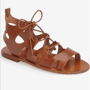 TOPSHOP 'Fig' Cutout Lace-Up Gladiator Sandal